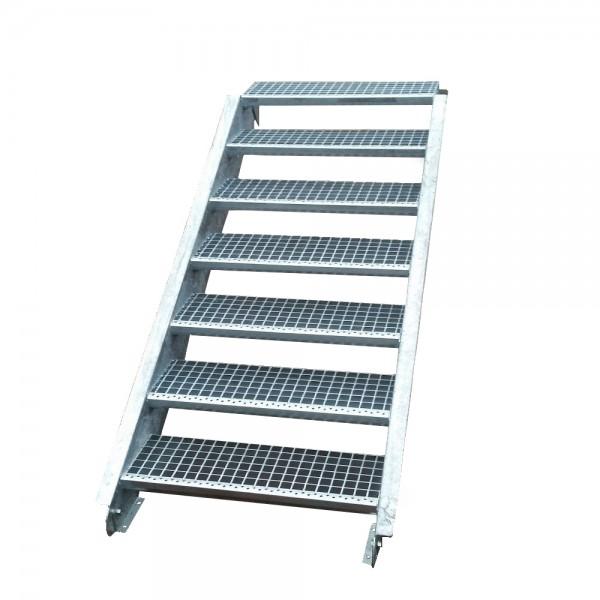 Stahltreppe Treppe 7 Stufen-Stufenbreite 60cm / Geschosshöhe 100-140cm verzinkt