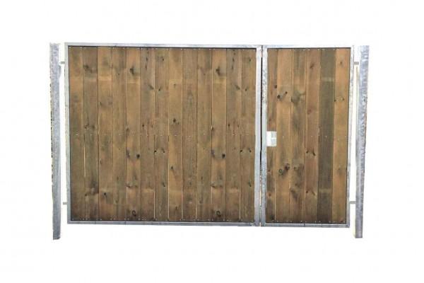 Einfahrtstor Verzinkt Garten Holz-Tor senkr. Asymmetrisch 2-Flügeltor 500x180cm