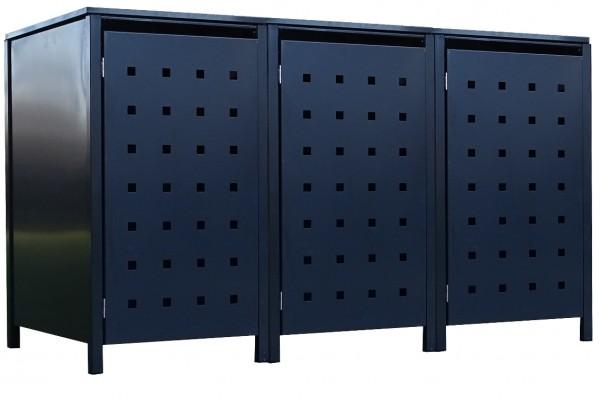 3 Tailor Mülltonnenboxen Basic für 120 Liter Tonne Stanzung 2 komplett Anthrazit
