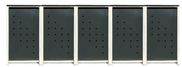 5 Tailor Mülltonnenboxen Basic für 120 Liter Tonne /Stanzung 4 /Anthrazit / Grau