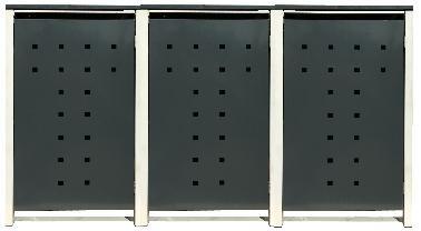 3 Tailor Mülltonnenboxen Basic für 240 Liter Tonne /Stanzung 7 /Anthrazit / Grau