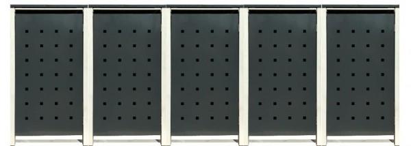 5 Tailor Mülltonnenboxen Basic für 120 Liter Tonne /Stanzung 2 /Anthrazit / Grau
