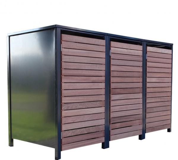 3 Premium Tailor-Mülltonnenboxen für 120 Liter Tonnen Anthrazit / Front-Edelholz