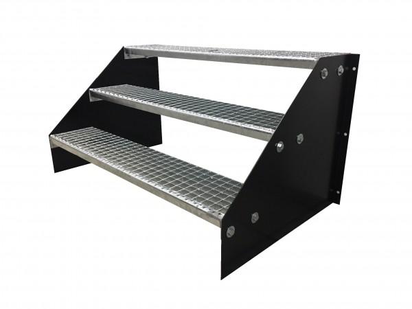 3 stufige freistehende Stahltreppe Standtreppe Breite 100cm Höhe 63cm Schwarz