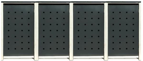 4 Tailor Mülltonnenboxen Basic für 120 Liter Tonne /Stanzung 2 /Anthrazit / Grau