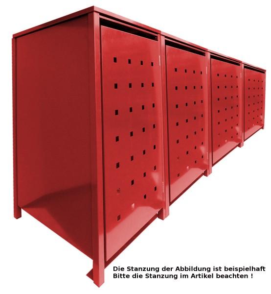 4 Tailor MüllTonnennboxen Basic für 120 Liter Tonnen Stanzung 1 komplett in Rot