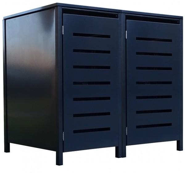 2 Tailor Mülltonnenboxen Basic für 240 Liter Tonne Stanzung 6 komplett Anthrazit