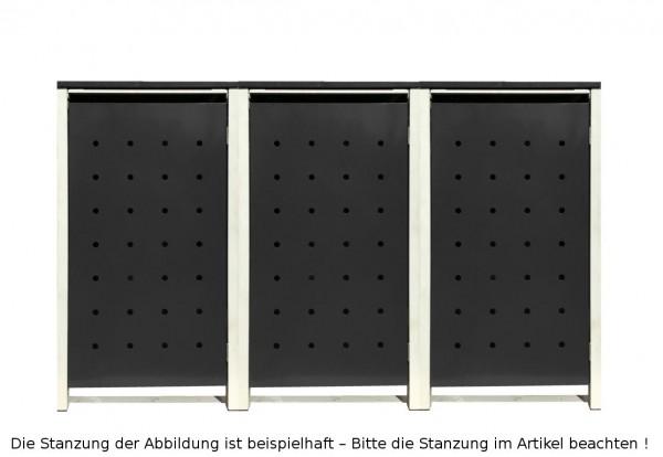 3 Tailor Mülltonnenboxen Basic für 120 Liter Tonnen /Stanzung 5 /Schwarz / Grau