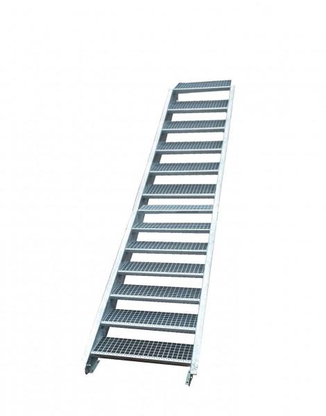 Stahltreppe Treppe 13 Stufen-Stufenbreite 60cm /Geschosshöhe 195-260cm verzinkt