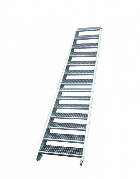 Stahltreppe Treppe 15 Stufen-Stufenbreite 150cm /Geschosshöhe 250-320cm verzinkt