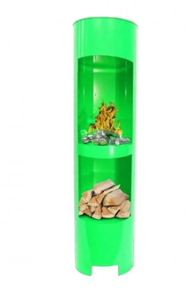 Ethanolkamin Gelkamin Höhe:180cm Breite:37cm Säule Kamin Grün mit Holzfach
