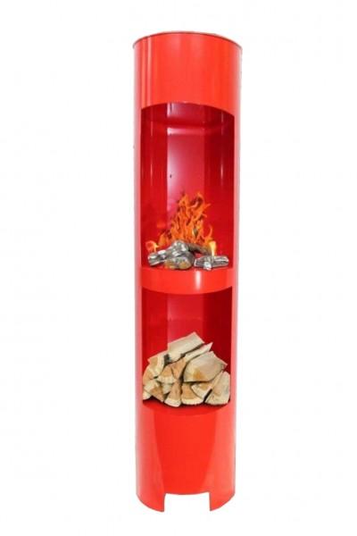 Ethanolkamin Gelkamin Höhe:180cm Breite:37cm Säule Kamin Rot mit Holzfach