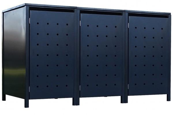 3 Tailor Mülltonnenboxen Basic für 240 Liter Tonne Stanzung 1 komplett Anthrazit