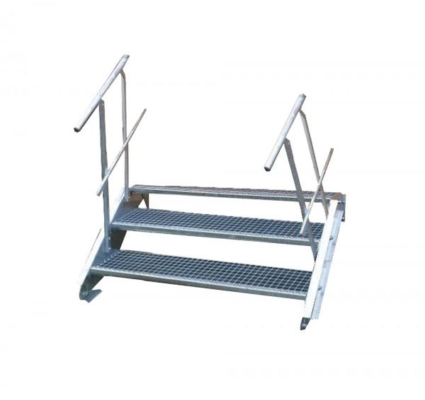 Stahltreppe 3 Stufen-Breite 90cm Variable-Höhe 40-60cm beidseit. Geländer