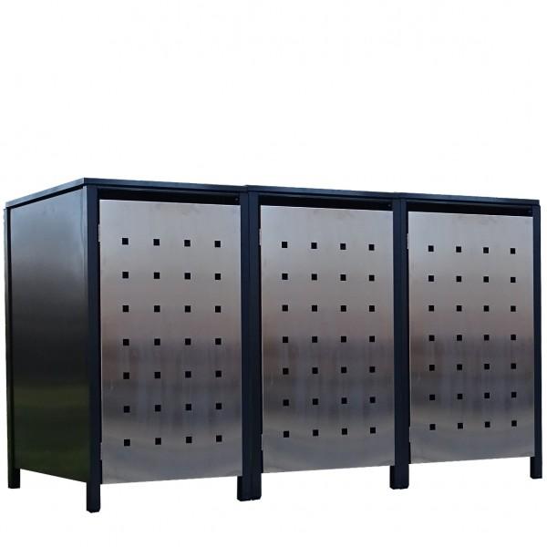 3x Premium 240 Liter Tailor Mülltonnenboxen Stanzung 2 Anthrazit Tür-Edelstahl
