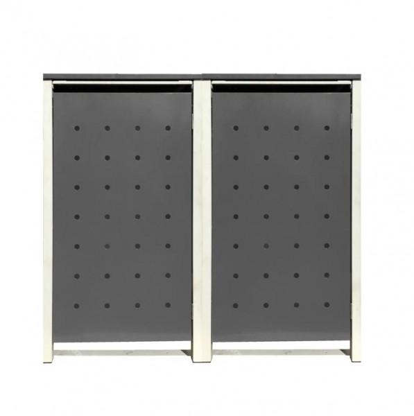 2 Tailor Mülltonnenboxen Basic für 240 Liter Tonnen Stanzung 1 Silbergrau / Grau