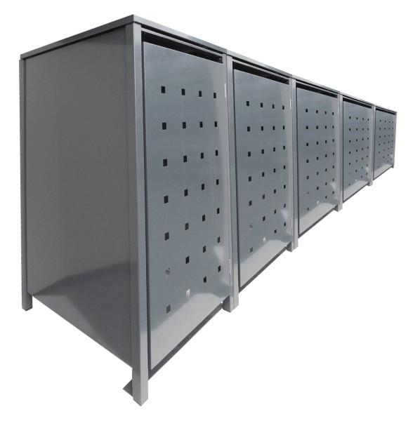 5 Tailor Mülltonnenboxen Basic für 240 Liter Tonnen Stanzung 2 kompl. Silbergrau