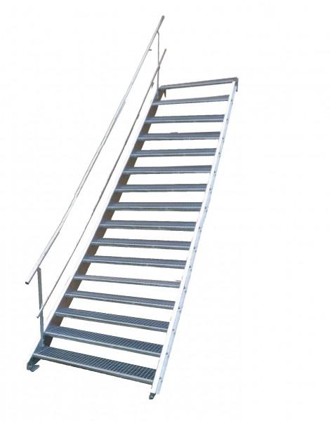 Stahltreppe 16 Stufen-Breite 140cm Variable-Höhe 274-340cm mit einseit. Geländer