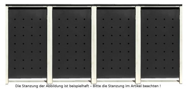 4 Tailor Mülltonnenboxen Basic für 240 Liter Tonnen /Stanzung 4 /Schwarz / Grau