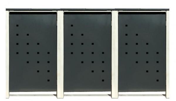 3 Tailor Mülltonnenboxen Basic für 240 Liter Tonne /Stanzung 3 /Anthrazit / Grau