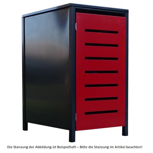 1 Tailor Mülltonnenbox Basic für 120 Liter Tonne Stanz.1 Anthrazit / Front Rot