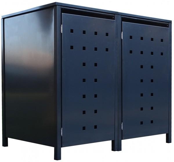 2 Tailor Mülltonnenboxen Basic für 120 Liter Tonne Stanzung 7 komplett Anthrazit