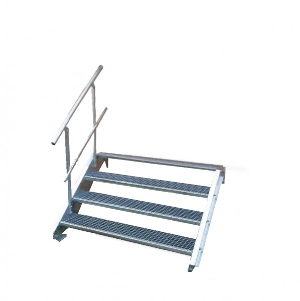 Stahltreppe 4 Stufen-Breite 90cm Variable-Höhe 55-85cm mit einseit. Geländer