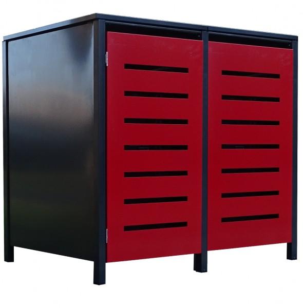 2 Tailor Mülltonnenboxen Basic für 120 Liter Tonne Stanz.6 Anthrazit / Front Rot