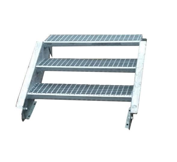 Stahltreppe Treppe 3 Stufen / Stufenbreite 120cm / Geschosshöhe 40-60cm verzinkt