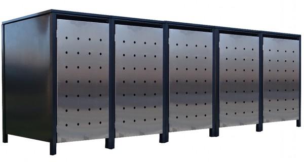 5x Premium 240 Liter Tailor Mülltonnenboxen Stanzung 1 Anthrazit Tür-Edelstahl