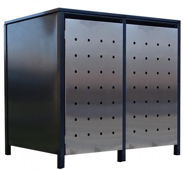 2x Premium 120 Liter Tailor Mülltonnenboxen Stanzung 1 Anthrazit Tür-Edelstahl